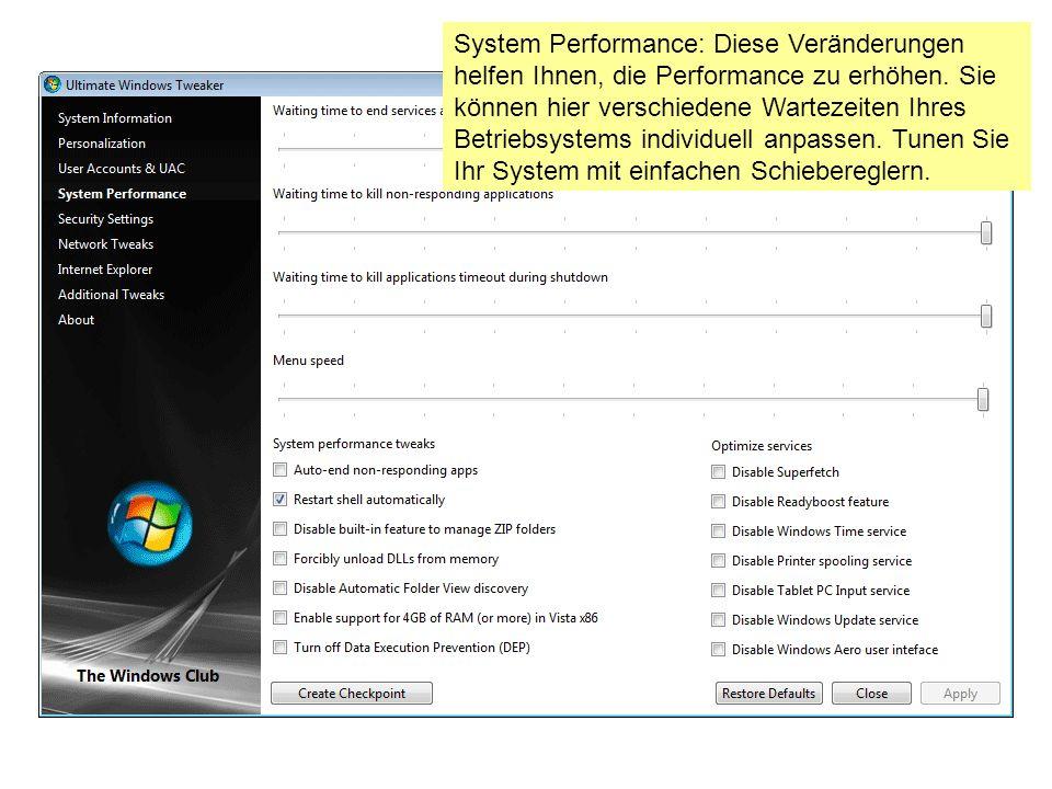 System Performance: Diese Veränderungen helfen Ihnen, die Performance zu erhöhen.