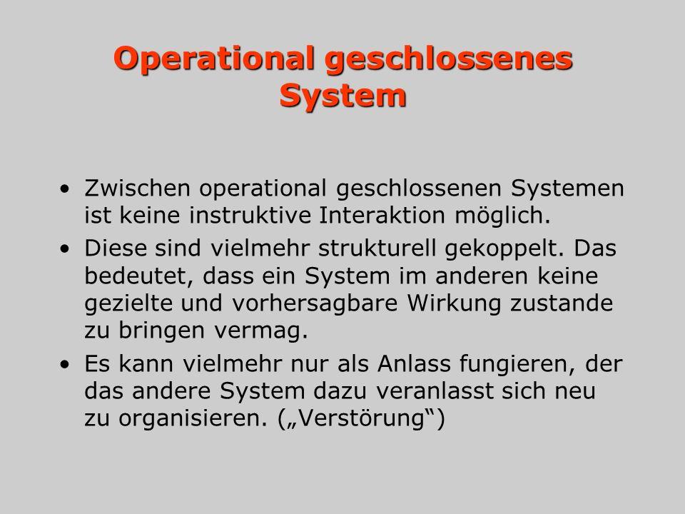 Operational geschlossenes System Zwischen operational geschlossenen Systemen ist keine instruktive Interaktion möglich. Diese sind vielmehr strukturel