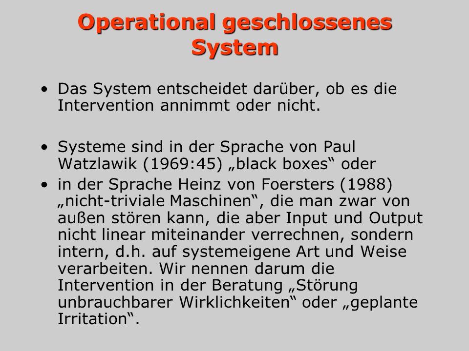 Operational geschlossenes System Das System entscheidet darüber, ob es die Intervention annimmt oder nicht. Systeme sind in der Sprache von Paul Watzl