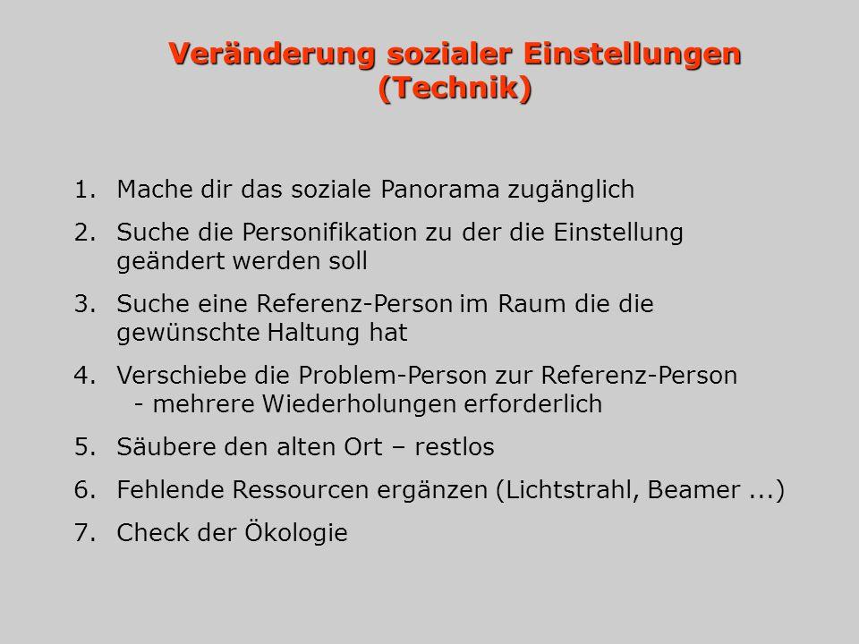 Veränderung sozialer Einstellungen (Technik) 1.Mache dir das soziale Panorama zugänglich 2.Suche die Personifikation zu der die Einstellung geändert werden soll 3.Suche eine Referenz-Person im Raum die die gewünschte Haltung hat 4.Verschiebe die Problem-Person zur Referenz-Person - mehrere Wiederholungen erforderlich 5.Säubere den alten Ort – restlos 6.Fehlende Ressourcen ergänzen (Lichtstrahl, Beamer...) 7.Check der Ökologie