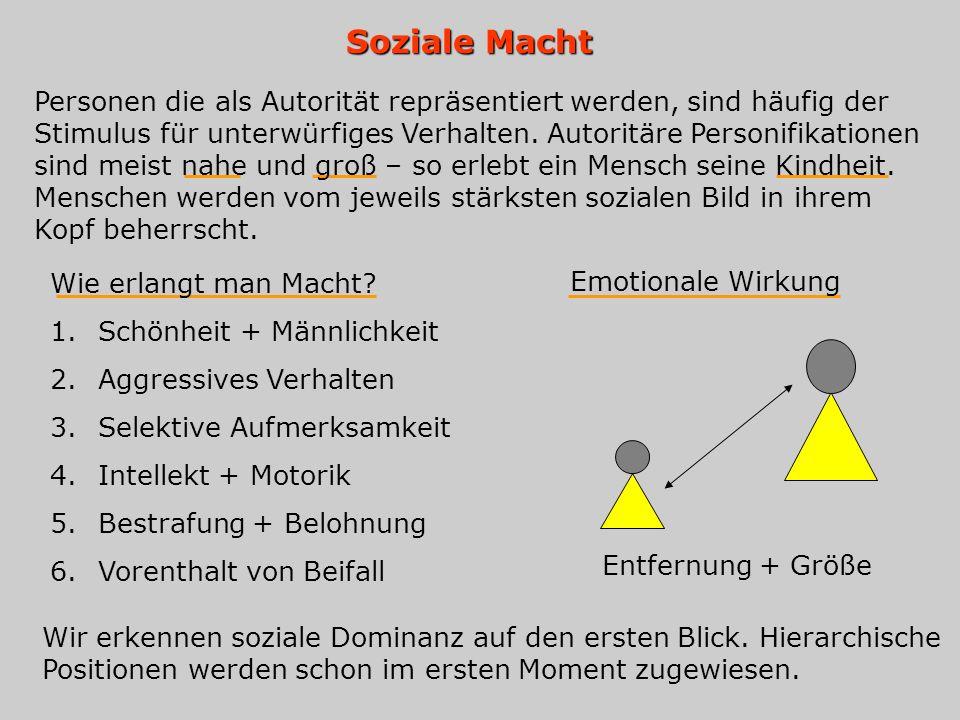 Soziale Macht Personen die als Autorität repräsentiert werden, sind häufig der Stimulus für unterwürfiges Verhalten. Autoritäre Personifikationen sind