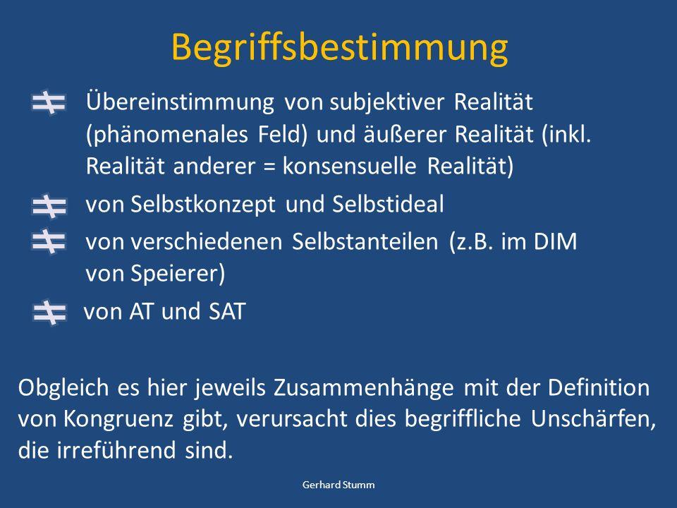 Begriffsbestimmung Übereinstimmung von subjektiver Realität (phänomenales Feld) und äußerer Realität (inkl. Realität anderer = konsensuelle Realität)