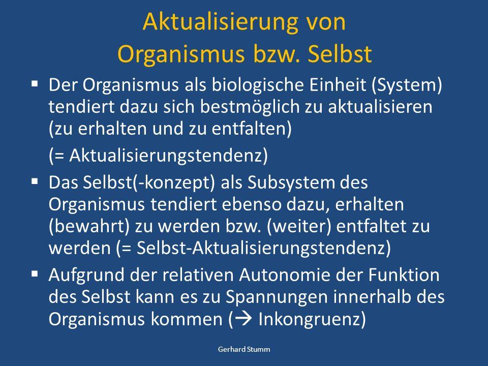 Aktualisierung von Organismus bzw. Selbst Der Organismus als biologische Einheit (System) tendiert dazu sich bestmöglich zu aktualisieren (zu erhalten