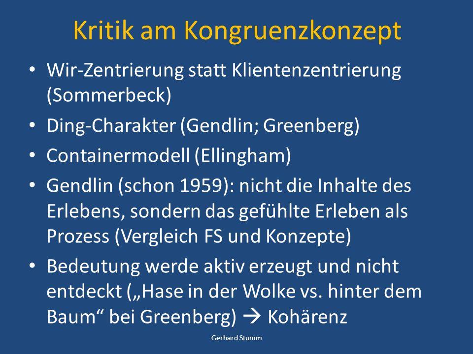 Kritik am Kongruenzkonzept Wir-Zentrierung statt Klientenzentrierung (Sommerbeck) Ding-Charakter (Gendlin; Greenberg) Containermodell (Ellingham) Gend