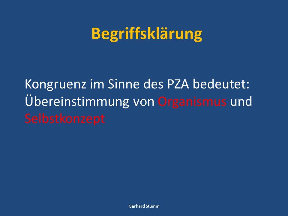 Begriffsklärung Kongruenz im Sinne des PZA bedeutet: Übereinstimmung von Organismus und Selbstkonzept Gerhard Stumm