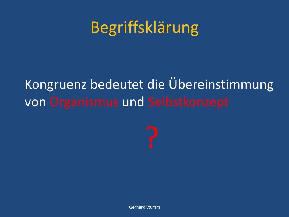 Begriffsklärung Kongruenz bedeutet die Übereinstimmung von Organismus und Selbstkonzept ? Gerhard Stumm