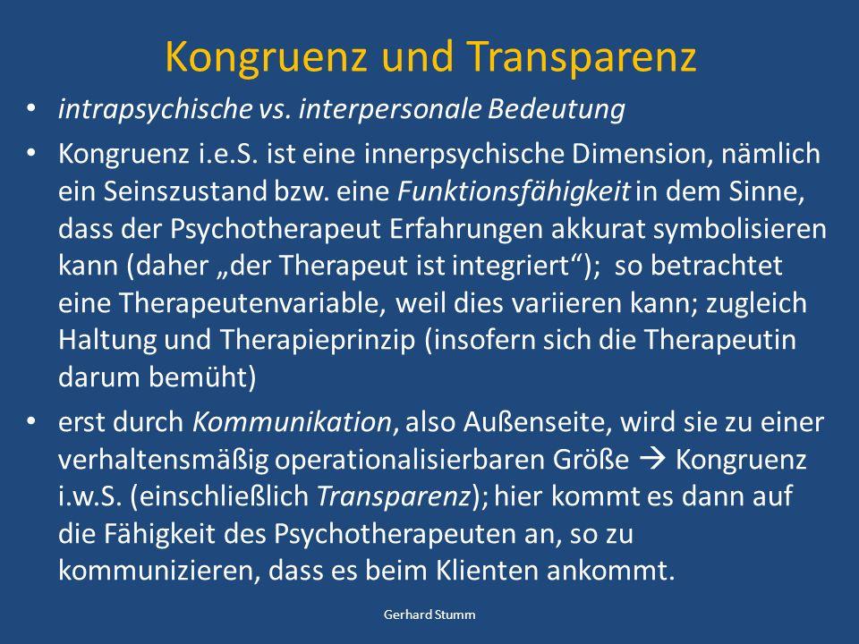 Kongruenz und Transparenz intrapsychische vs. interpersonale Bedeutung Kongruenz i.e.S. ist eine innerpsychische Dimension, nämlich ein Seinszustand b