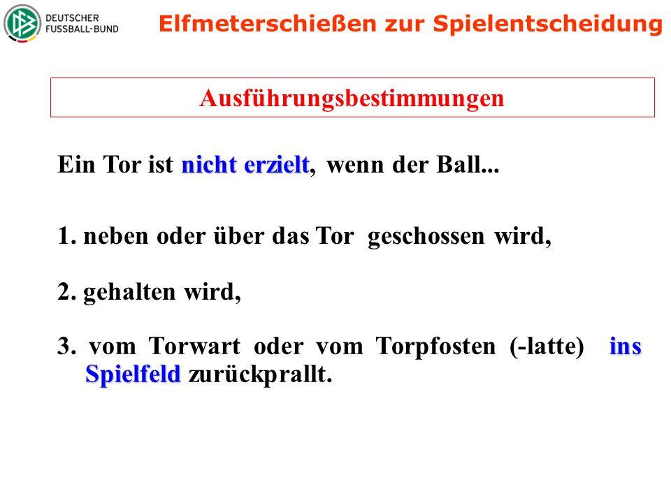 Position des Balles, des Schützen, Assistenten und Torwart des Schützen Torwart Ball ausführender Spieler SR Der SR Der SR muss den Torwart, den Schüt