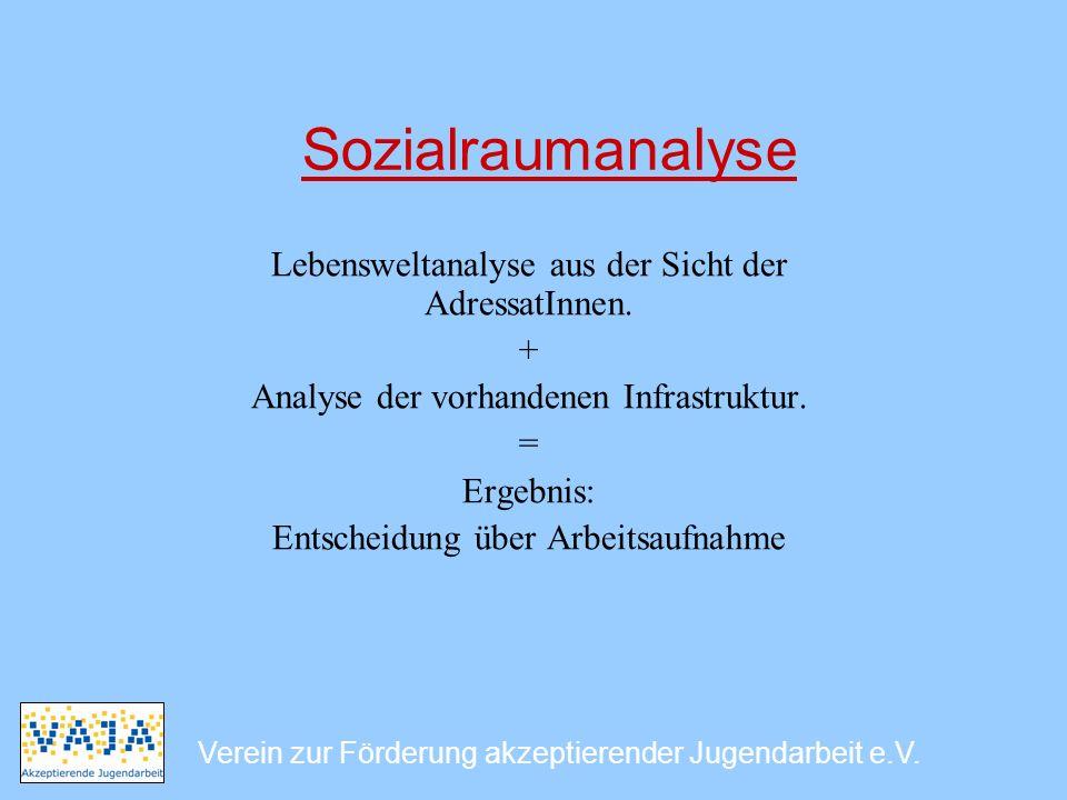 Sozialraumanalyse Lebensweltanalyse aus der Sicht der AdressatInnen. + Analyse der vorhandenen Infrastruktur. = Ergebnis: Entscheidung über Arbeitsauf