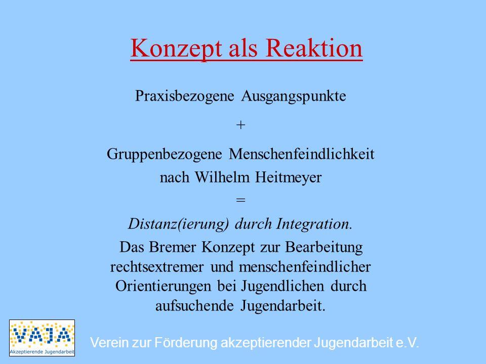 Konzept als Reaktion Praxisbezogene Ausgangspunkte + Gruppenbezogene Menschenfeindlichkeit nach Wilhelm Heitmeyer = Distanz(ierung) durch Integration.