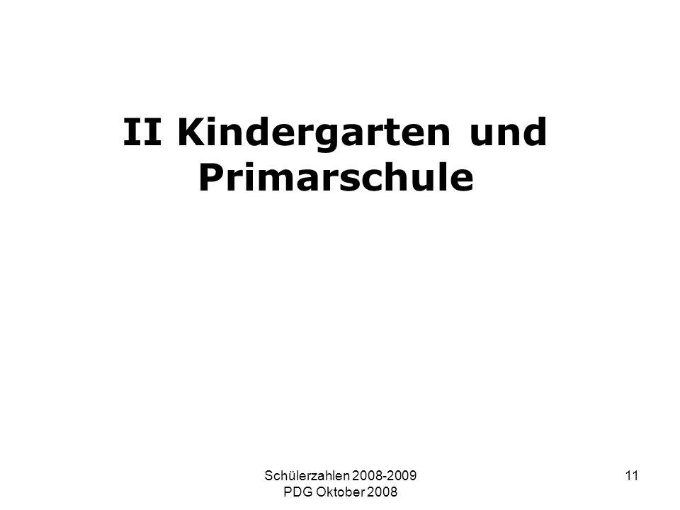 Schülerzahlen 2008-2009 PDG Oktober 2008 11 II Kindergarten und Primarschule