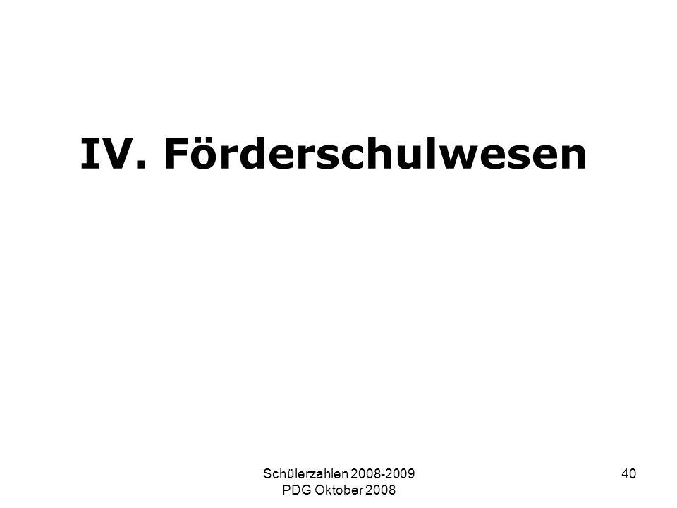 Schülerzahlen 2008-2009 PDG Oktober 2008 40 IV. Förderschulwesen