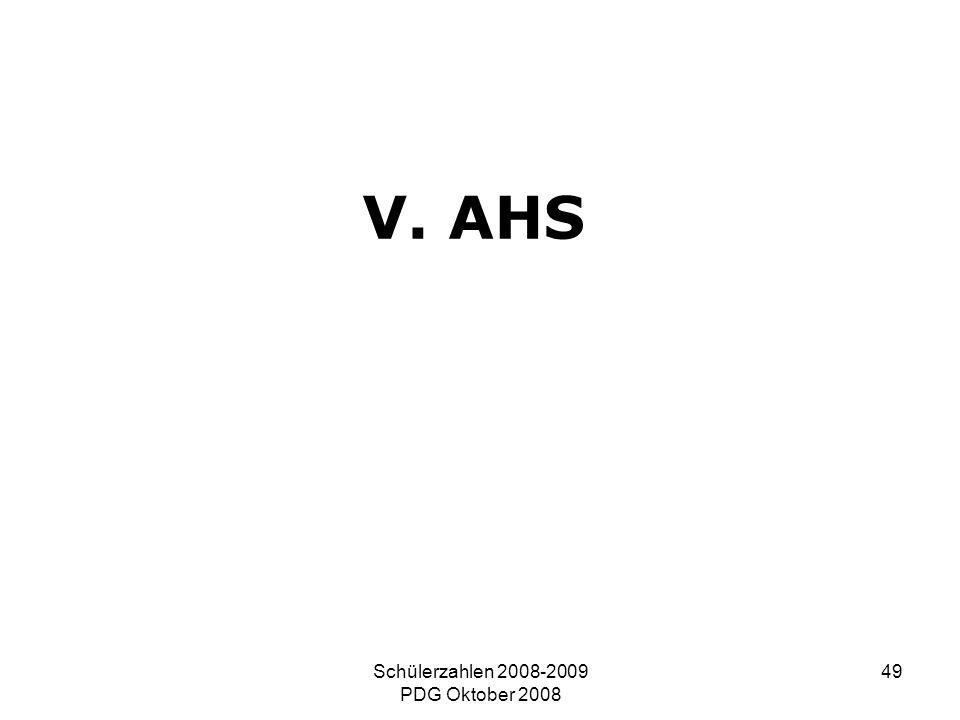 Schülerzahlen 2008-2009 PDG Oktober 2008 49 V. AHS