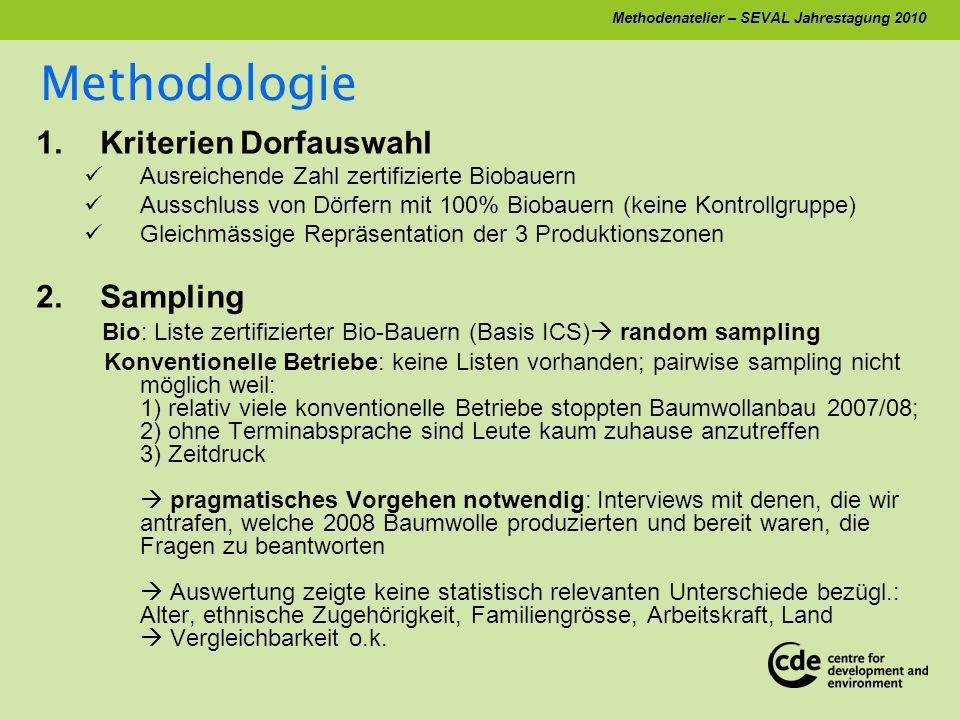 Methodenatelier – SEVAL Jahrestagung 2010 1.Kriterien Dorfauswahl Ausreichende Zahl zertifizierte Biobauern Ausschluss von Dörfern mit 100% Biobauern (keine Kontrollgruppe) Gleichmässige Repräsentation der 3 Produktionszonen 2.Sampling Bio: Liste zertifizierter Bio-Bauern (Basis ICS) random sampling Konventionelle Betriebe: keine Listen vorhanden; pairwise sampling nicht möglich weil: 1) relativ viele konventionelle Betriebe stoppten Baumwollanbau 2007/08; 2) ohne Terminabsprache sind Leute kaum zuhause anzutreffen 3) Zeitdruck pragmatisches Vorgehen notwendig: Interviews mit denen, die wir antrafen, welche 2008 Baumwolle produzierten und bereit waren, die Fragen zu beantworten Auswertung zeigte keine statistisch relevanten Unterschiede bezügl.: Alter, ethnische Zugehörigkeit, Familiengrösse, Arbeitskraft, Land Vergleichbarkeit o.k.