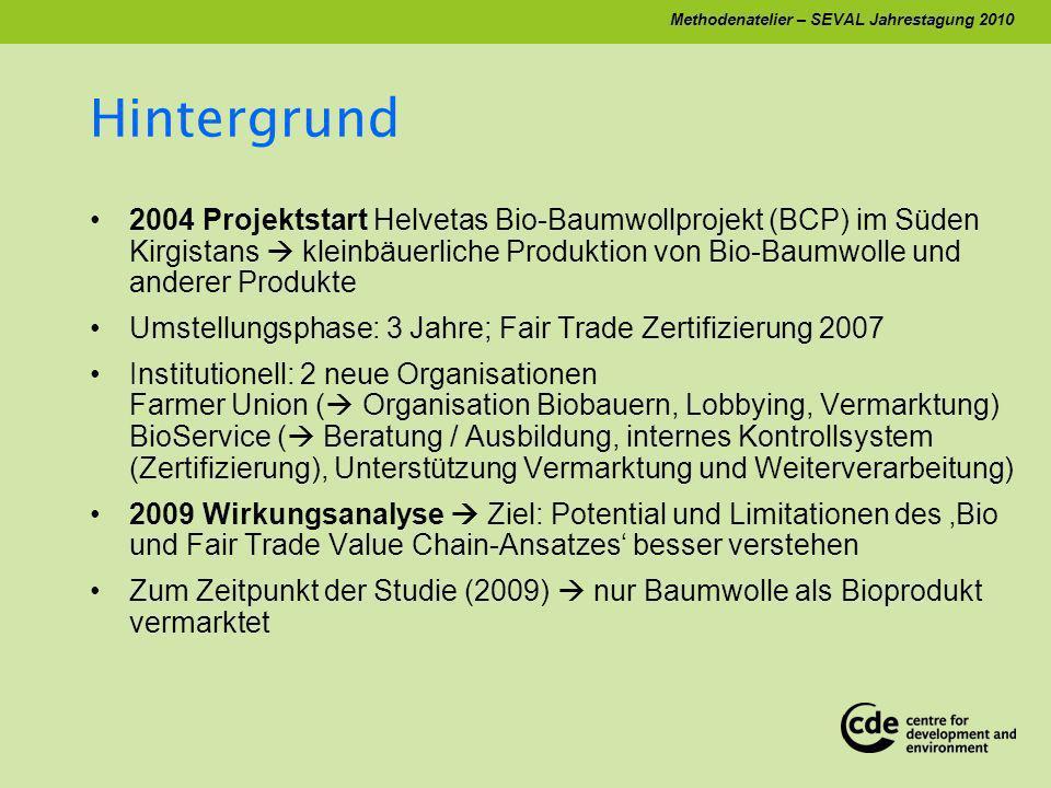 Methodenatelier – SEVAL Jahrestagung 2010 Hintergrund 2004 Projektstart Helvetas Bio-Baumwollprojekt (BCP) im Süden Kirgistans kleinbäuerliche Produktion von Bio-Baumwolle und anderer Produkte Umstellungsphase: 3 Jahre; Fair Trade Zertifizierung 2007 Institutionell: 2 neue Organisationen Farmer Union ( Organisation Biobauern, Lobbying, Vermarktung) BioService ( Beratung / Ausbildung, internes Kontrollsystem (Zertifizierung), Unterstützung Vermarktung und Weiterverarbeitung) 2009 Wirkungsanalyse Ziel: Potential und Limitationen des Bio und Fair Trade Value Chain-Ansatzes besser verstehen Zum Zeitpunkt der Studie (2009) nur Baumwolle als Bioprodukt vermarktet