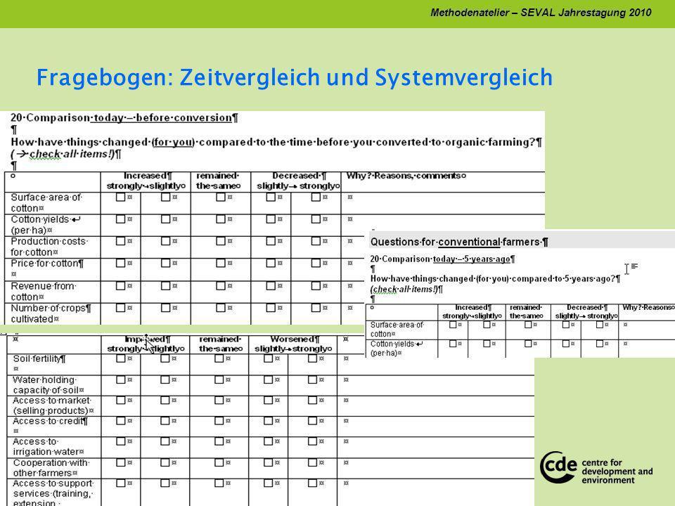 Methodenatelier – SEVAL Jahrestagung 2010 Zeitvergleich: keine Baseline Daten vorhanden Qualitative Daten: Perzeptionen, Bewertungen Wichtig: Begründungen für pos.