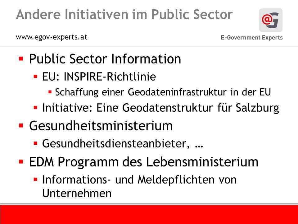 www.egov-experts.at Andere Initiativen im Public Sector Public Sector Information EU: INSPIRE-Richtlinie Schaffung einer Geodateninfrastruktur in der