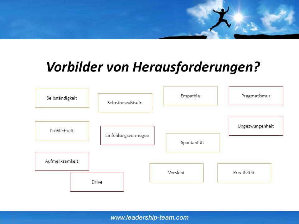 www.leadership-team.com Fröhlichkeit Selbständigkeit Aufmerksamkeit Vorsicht PragmatismusEmpathie Spontanität Kreativität Drive Selbstbewußtsein Einfü