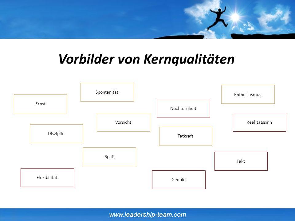 www.leadership-team.com Disziplin Ernst Flexibilität Enthusiasmus Realitätssinn Tatkraft Spaß Vorsicht Geduld Spontanität Nüchternheit Takt Vorbilder