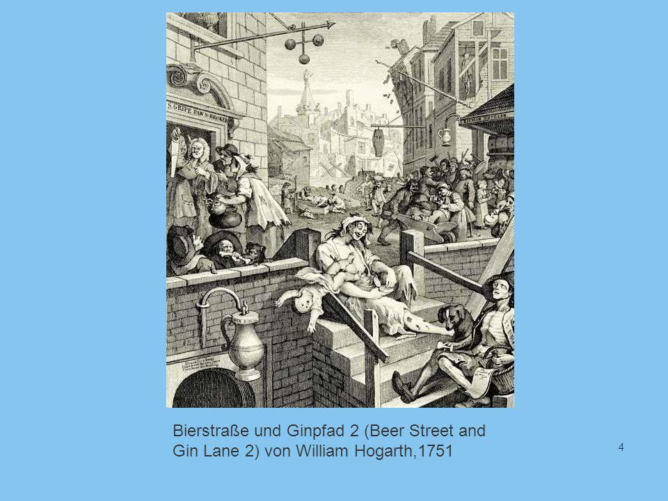 4 Bierstraße und Ginpfad 2 (Beer Street and Gin Lane 2) von William Hogarth,1751