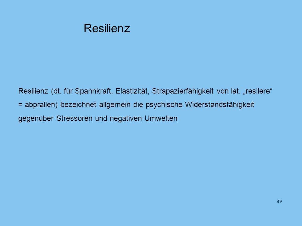 Resilienz Resilienz (dt. für Spannkraft, Elastizität, Strapazierfähigkeit von lat. resilere = abprallen) bezeichnet allgemein die psychische Widerstan