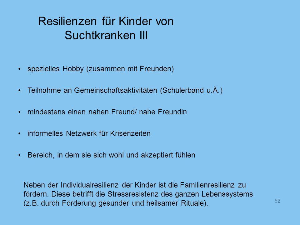 Resilienzen für Kinder von Suchtkranken III spezielles Hobby (zusammen mit Freunden) Teilnahme an Gemeinschaftsaktivitäten (Schülerband u.Ä.) mindeste