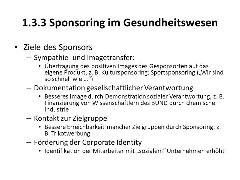1.3.3 Sponsoring im Gesundheitswesen Ziele des Sponsors – Sympathie- und Imagetransfer: Übertragung des positiven Images des Gesponsorten auf das eigene Produkt, z.
