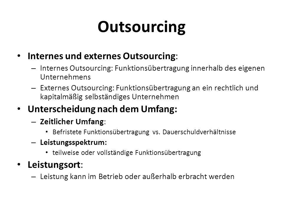 Outsourcing Internes und externes Outsourcing: – Internes Outsourcing: Funktionsübertragung innerhalb des eigenen Unternehmens – Externes Outsourcing: Funktionsübertragung an ein rechtlich und kapitalmäßig selbständiges Unternehmen Unterscheidung nach dem Umfang: – Zeitlicher Umfang : Befristete Funktionsübertragung vs.