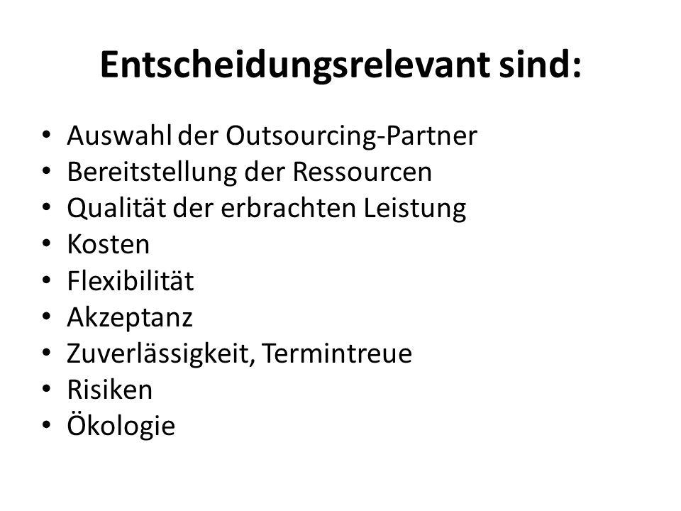 Entscheidungsrelevant sind: Auswahl der Outsourcing-Partner Bereitstellung der Ressourcen Qualität der erbrachten Leistung Kosten Flexibilität Akzeptanz Zuverlässigkeit, Termintreue Risiken Ökologie