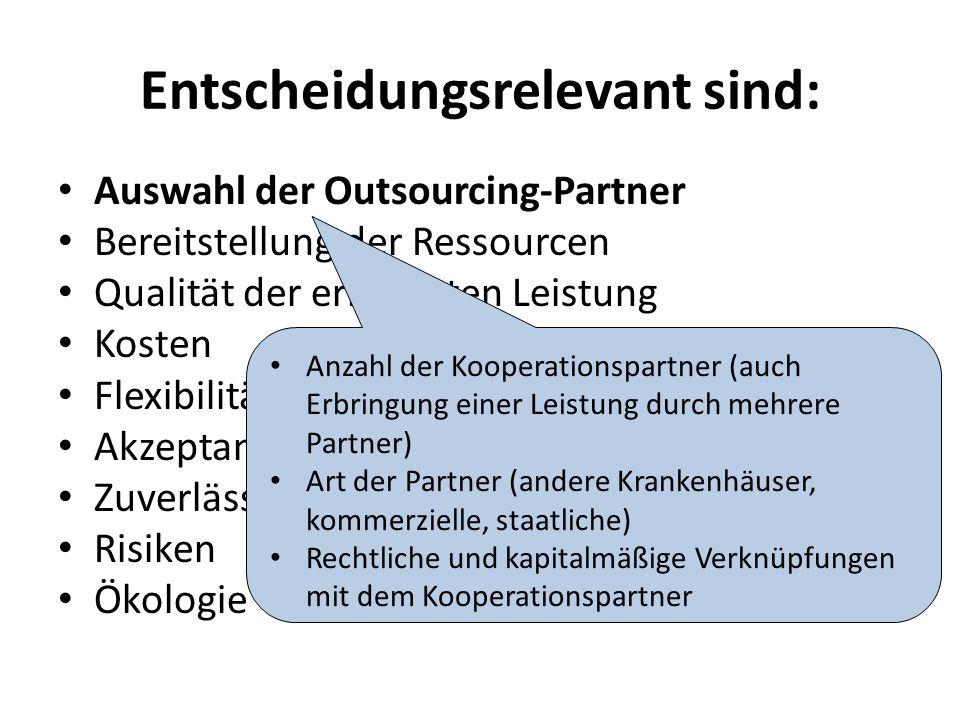 Entscheidungsrelevant sind: Auswahl der Outsourcing-Partner Bereitstellung der Ressourcen Qualität der erbrachten Leistung Kosten Flexibilität Akzeptanz Zuverlässigkeit, Termintreue Risiken Ökologie Anzahl der Kooperationspartner (auch Erbringung einer Leistung durch mehrere Partner) Art der Partner (andere Krankenhäuser, kommerzielle, staatliche) Rechtliche und kapitalmäßige Verknüpfungen mit dem Kooperationspartner