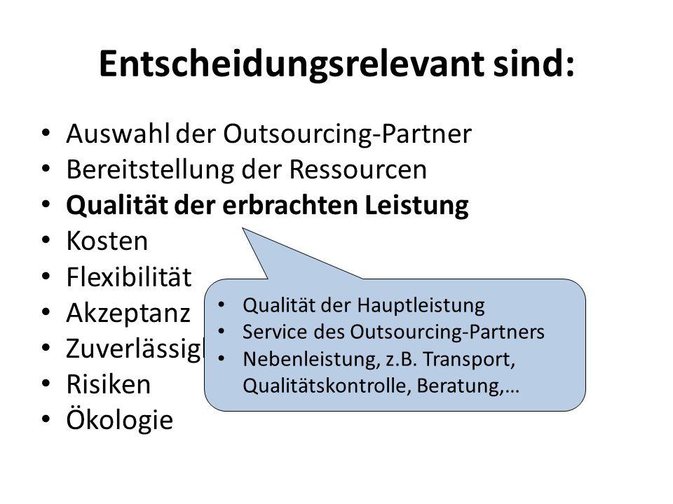 Entscheidungsrelevant sind: Auswahl der Outsourcing-Partner Bereitstellung der Ressourcen Qualität der erbrachten Leistung Kosten Flexibilität Akzeptanz Zuverlässigkeit, Termintreue Risiken Ökologie Qualität der Hauptleistung Service des Outsourcing-Partners Nebenleistung, z.B.