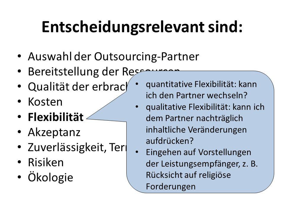 Entscheidungsrelevant sind: Auswahl der Outsourcing-Partner Bereitstellung der Ressourcen Qualität der erbrachten Leistung Kosten Flexibilität Akzeptanz Zuverlässigkeit, Termintreue Risiken Ökologie quantitative Flexibilität: kann ich den Partner wechseln.