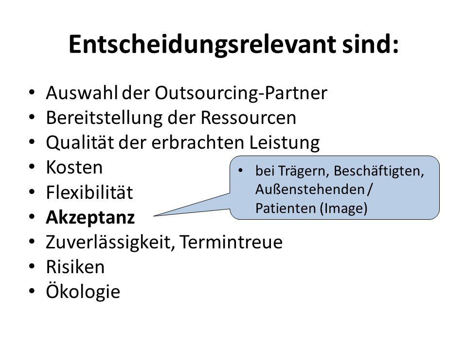 Entscheidungsrelevant sind: Auswahl der Outsourcing-Partner Bereitstellung der Ressourcen Qualität der erbrachten Leistung Kosten Flexibilität Akzeptanz Zuverlässigkeit, Termintreue Risiken Ökologie bei Trägern, Beschäftigten, Außenstehenden / Patienten (Image)