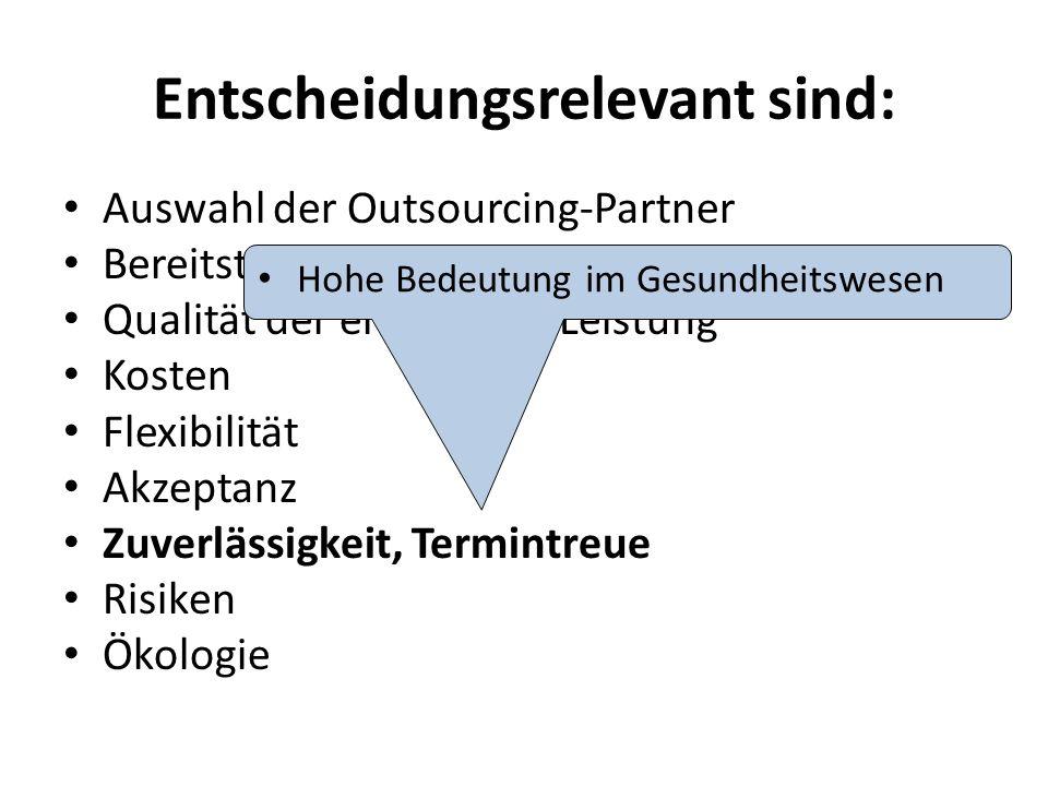 Entscheidungsrelevant sind: Auswahl der Outsourcing-Partner Bereitstellung der Ressourcen Qualität der erbrachten Leistung Kosten Flexibilität Akzeptanz Zuverlässigkeit, Termintreue Risiken Ökologie Hohe Bedeutung im Gesundheitswesen