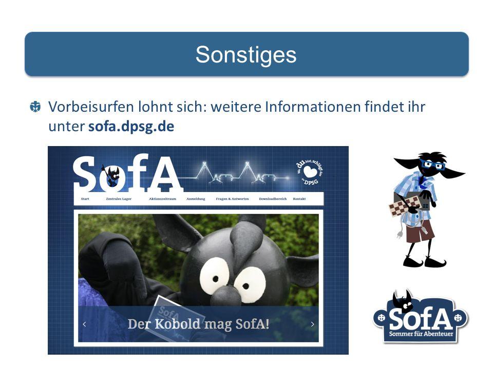 Vorbeisurfen lohnt sich: weitere Informationen findet ihr unter sofa.dpsg.de Sonstiges
