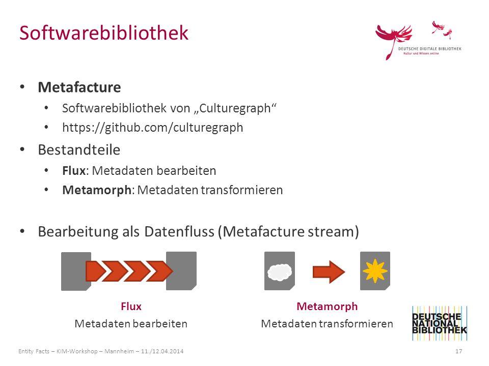 Entity Facts – KIM-Workshop – Mannheim – 11./12.04.2014 17 Metafacture Softwarebibliothek von Culturegraph https://github.com/culturegraph Bestandteil