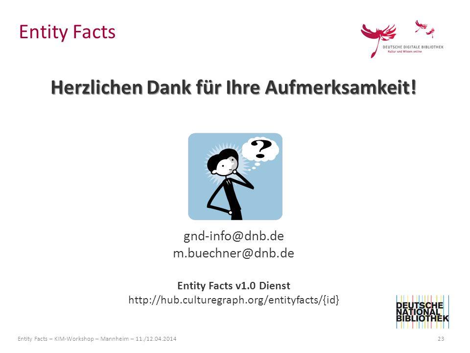 Entity Facts – KIM-Workshop – Mannheim – 11./12.04.2014 23 Herzlichen Dank für Ihre Aufmerksamkeit! gnd-info@dnb.de m.buechner@dnb.de Entity Facts v1.