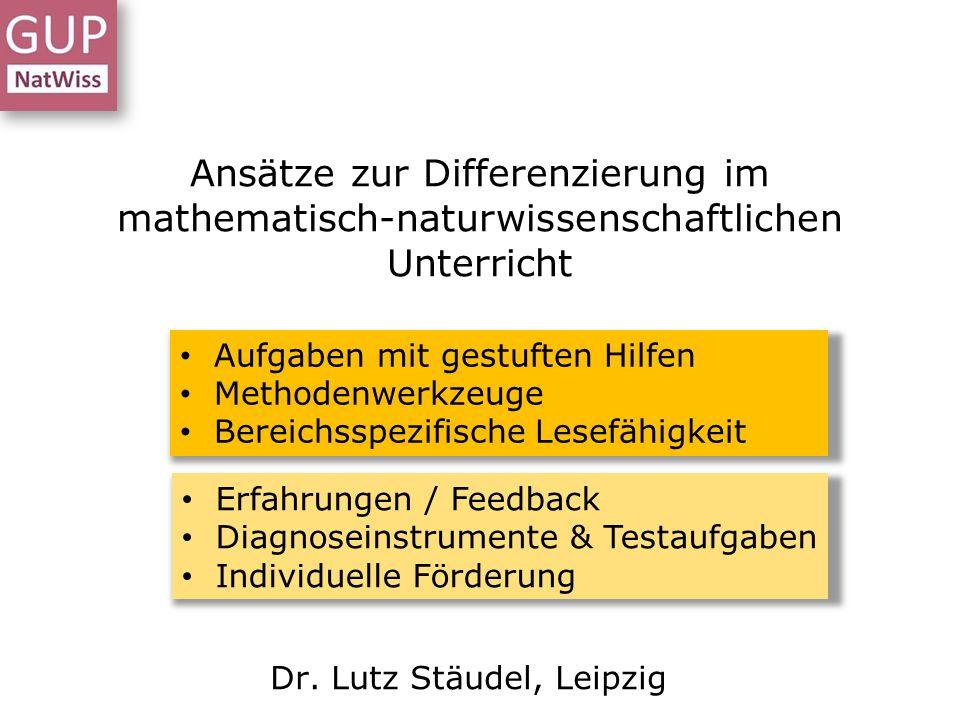 Lesekompetenz entwickeln DS Kiew – Differenzieren (I) - Dr. L. Stäudel - 01/2014