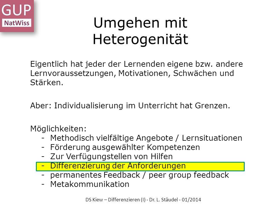 Fachsprache und Unterrichtssprache DS Kiew – Differenzieren (I) - Dr. L. Stäudel - 01/2014
