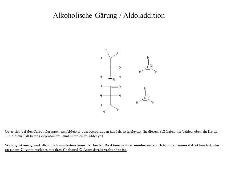 Ob es sich bei den Carbonylgruppen um Aldehyd- oder Ketogruppen handelt, ist irrelevant (in diesem Fall haben wir beides: oben ein Keton – in diesem F