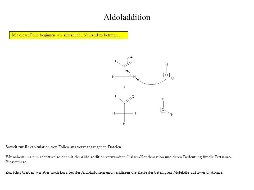 Aldoladdition Soweit zur Rekapitulation von Folien aus vorangegangenen Dateien. Wir nähern uns nun schrittweise der mit der Aldoladdition verwandten C