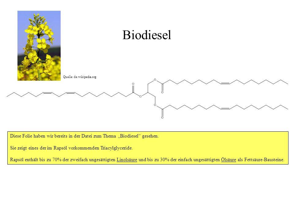 Biodiesel Diese Folie haben wir bereits in der Datei zum Thema Biodiesel gesehen. Sie zeigt eines der im Rapsöl vorkommenden Triacylglyceride. Rapsöl