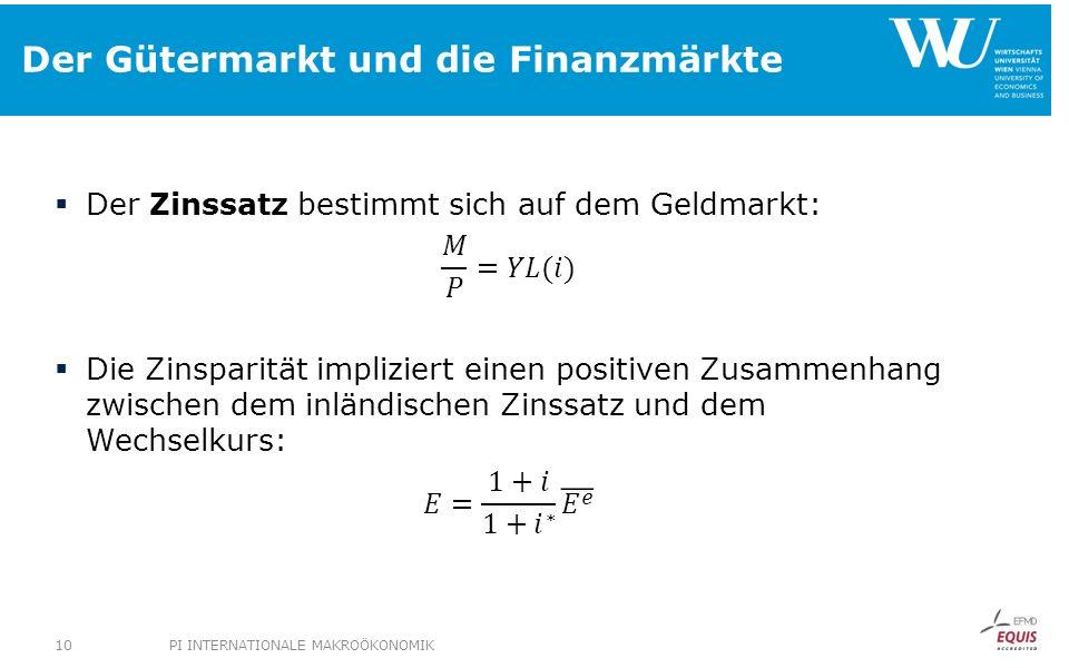 Der Gütermarkt und die Finanzmärkte PI INTERNATIONALE MAKROÖKONOMIK10