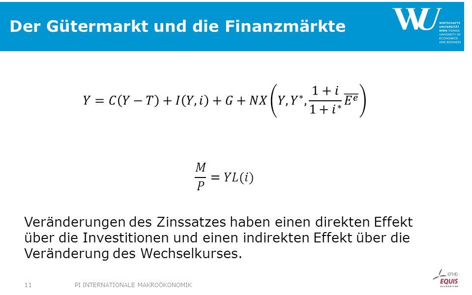 Der Gütermarkt und die Finanzmärkte PI INTERNATIONALE MAKROÖKONOMIK11