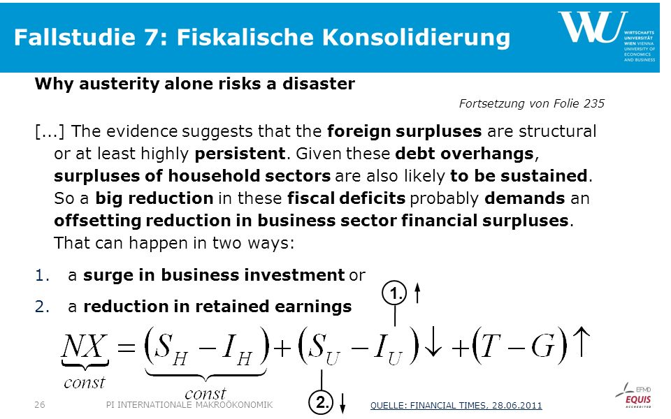 Fallstudie 7: Fiskalische Konsolidierung Why austerity alone risks a disaster Fortsetzung von Folie 235 [...] The evidence suggests that the foreign s