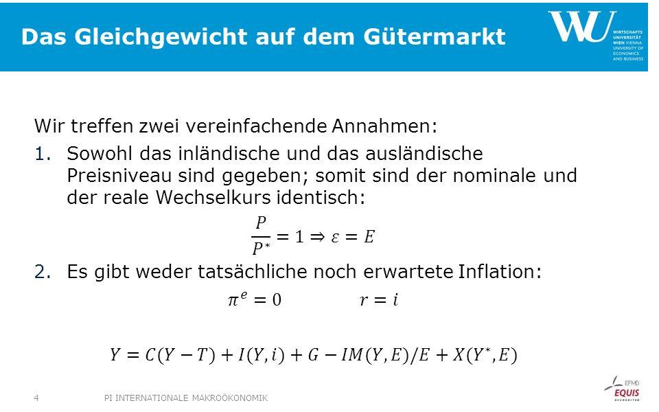 Das Gleichgewicht auf dem Gütermarkt PI INTERNATIONALE MAKROÖKONOMIK4