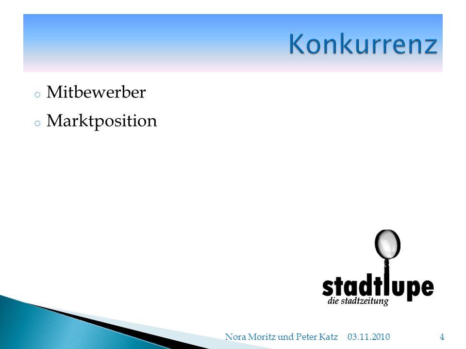 o Mitbewerber o Marktposition 03.11.2010 Nora Moritz und Peter Katz 4
