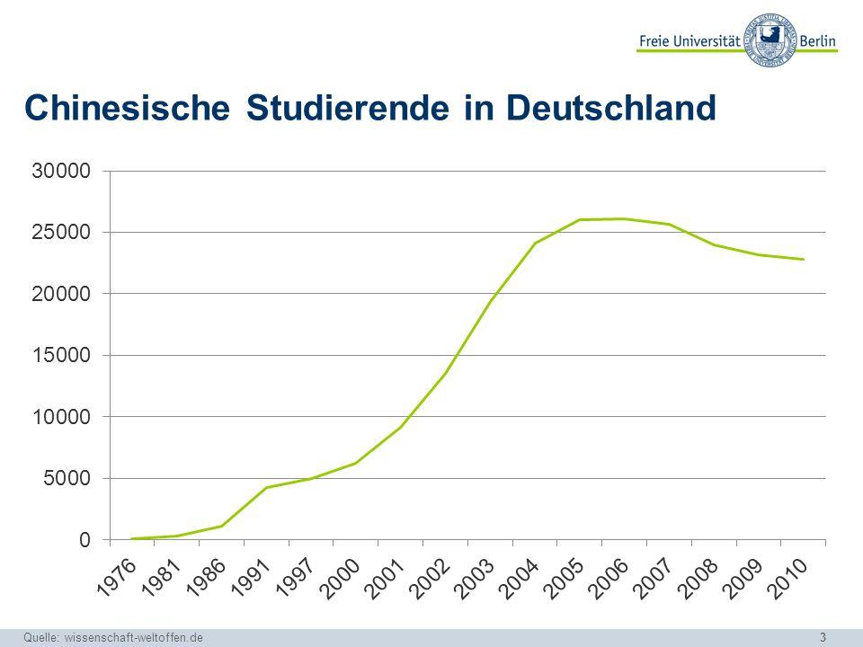 3 Chinesische Studierende in Deutschland Quelle: wissenschaft-weltoffen.de