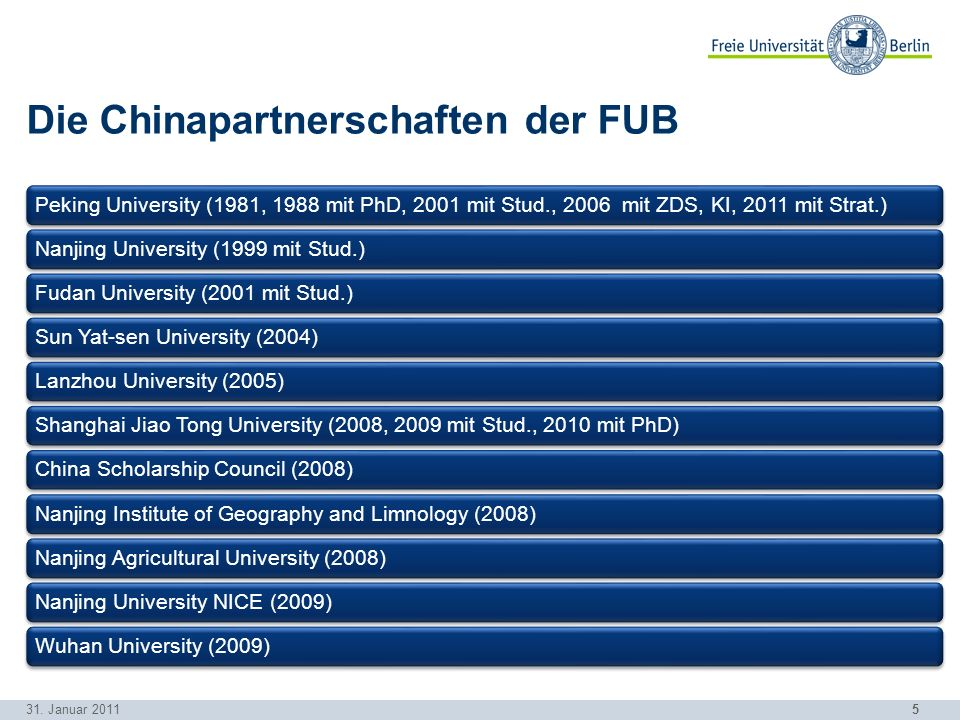 5 Die Chinapartnerschaften der FUB Peking University (1981, 1988 mit PhD, 2001 mit Stud., 2006 mit ZDS, KI, 2011 mit Strat.)Nanjing University (1999 mit Stud.)Fudan University (2001 mit Stud.)Sun Yat-sen University (2004)Lanzhou University (2005)Shanghai Jiao Tong University (2008, 2009 mit Stud., 2010 mit PhD)China Scholarship Council (2008)Nanjing Institute of Geography and Limnology (2008)Nanjing Agricultural University (2008)Nanjing University NICE (2009)Wuhan University (2009) 31.