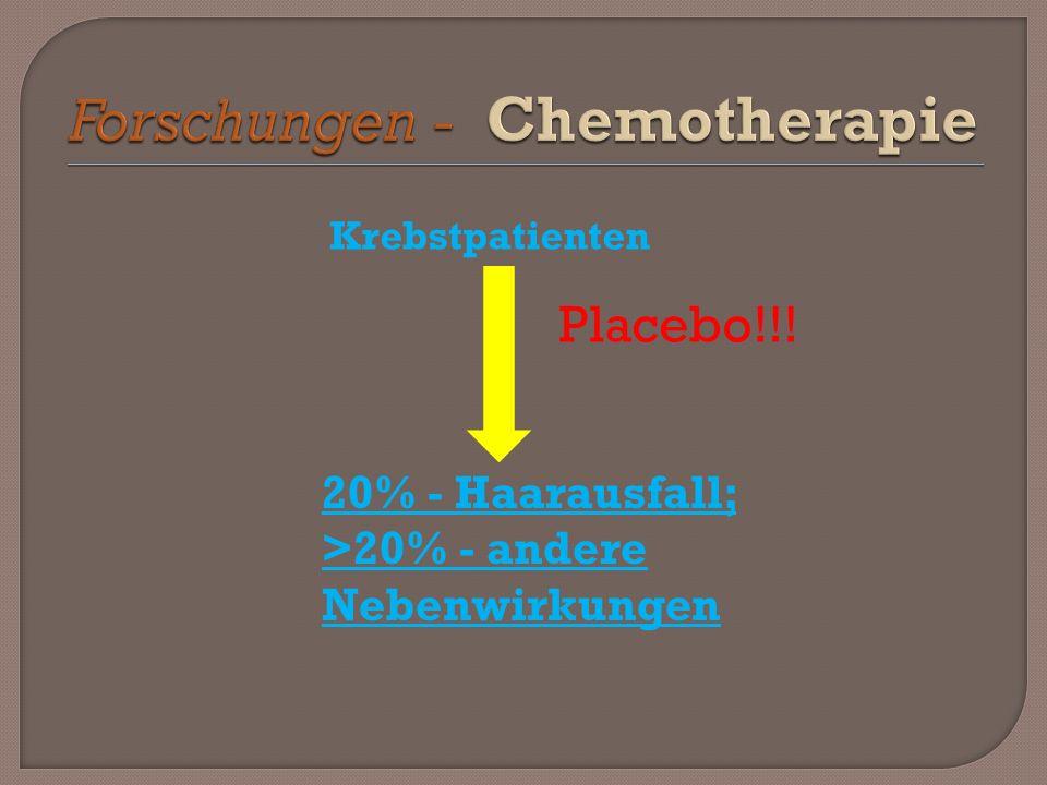 Krebstpatienten Placebo!!! 20% - Haarausfall; >20% - andere Nebenwirkungen